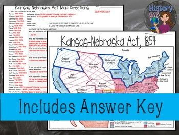 Kansas Nebraska Act Map Activity | Social Studies Education | Map ...