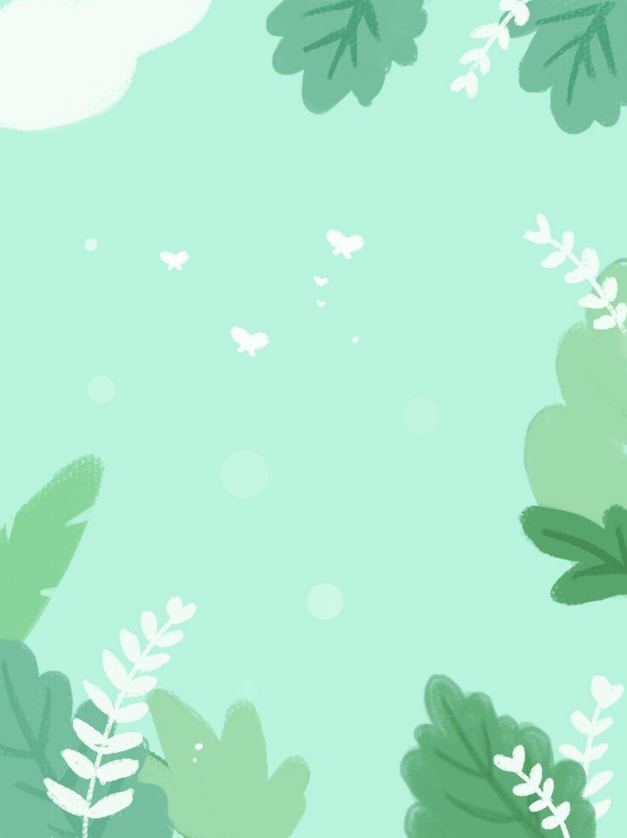 Green Summer Fresh Minimalist Leaf Background Pastel Background Wallpapers Mint Green Wallpaper Leaf Background