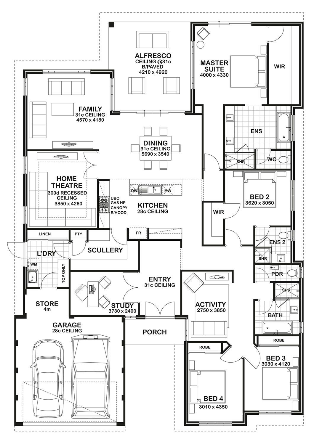4 Bedroom Floor Plan Love The Kids Lounge That Helps Designate A Whole Wing For All Their Play Thi 4 Bedroom House Plans House Blueprints Bedroom House Plans