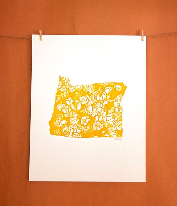 oregon grape print by thimblepress how beautiful each state outline filled with the state 39 s. Black Bedroom Furniture Sets. Home Design Ideas