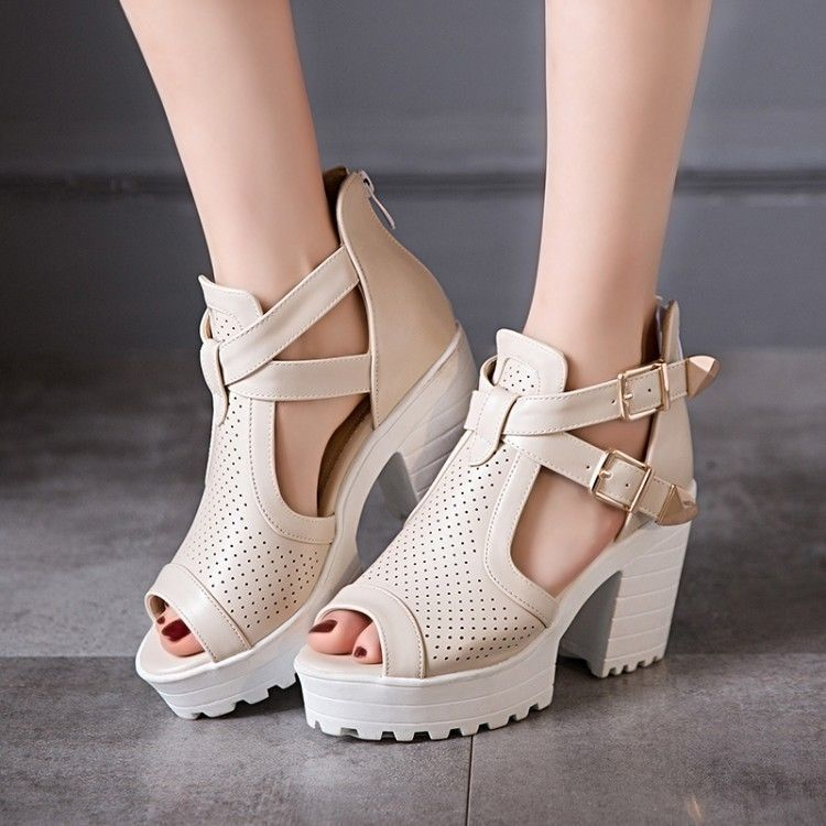 8b14fda66cc Gladiator Women Block High Heel Open Toe Hollow Out Sandals Platform Pumps  Shoes