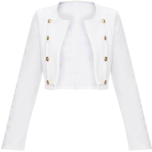 99f9f0199ad93 WHITE MILITARY CROPPED JACKET ❤ liked on Polyvore featuring outerwear,  jackets, military jackets, military style jacket, military inspired jacket,  cropped ...