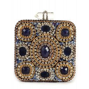 91cb89f5d Bolso de fiesta cuadrado cristales Swarovski dorado y azul www.sanci ...