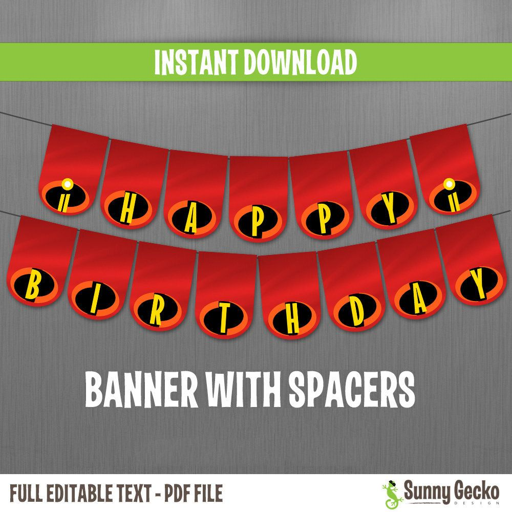 Disney The Incredibles 2 Happy Birthday Banner with ...