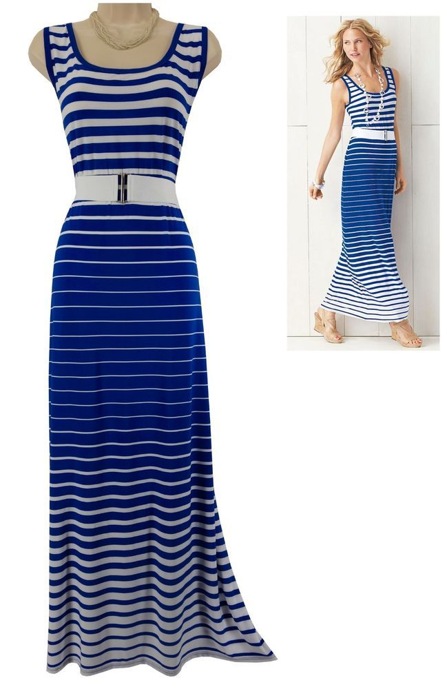 20W 2X SEXY Womens BLUE WHITE STRIPED MAXI DRESS W BELT Spring Summer PLUS  SIZE  RozAli  MaxiDresswithStretchyBelt  Versatile f2ac8c2ee3