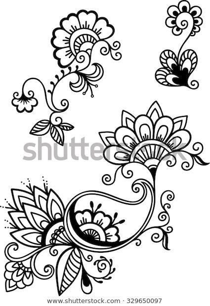 Стоковая векторная графика «Set Mehndi Flower Pattern Henna Drawing» (без лицензионных платежей), 329650097