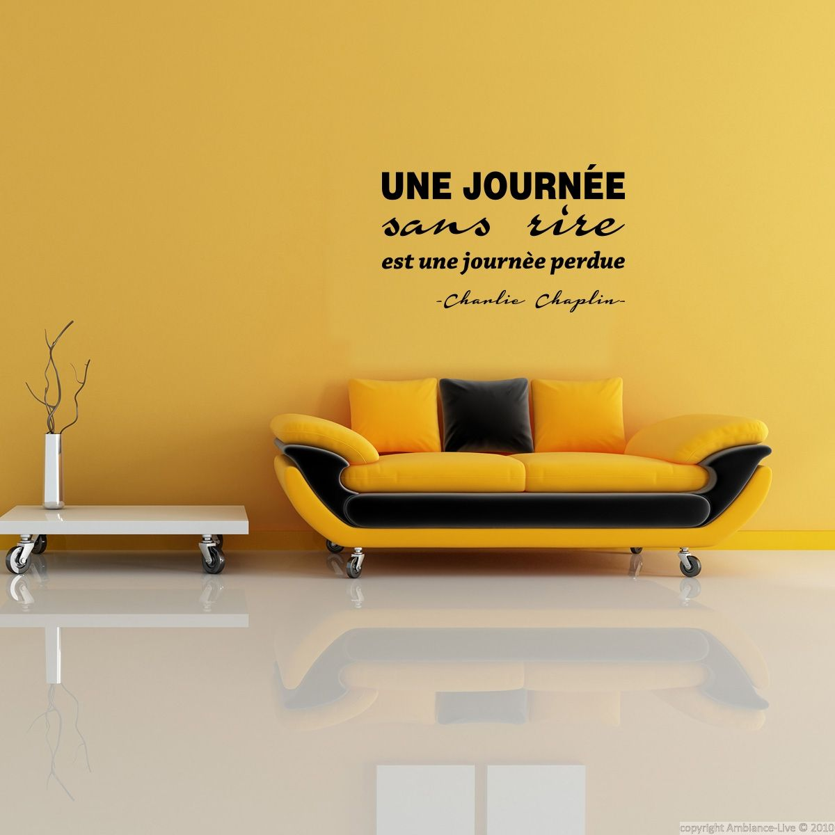 stickers muraux citations sticker journ e sans rire ambiance wall decal quotes. Black Bedroom Furniture Sets. Home Design Ideas