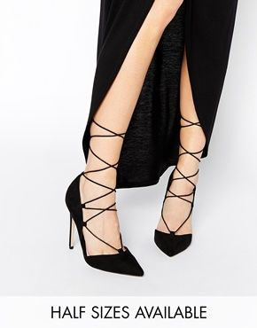 Zapatos de tacón alto de tacón alto con cordones negros taxu0BLdHL