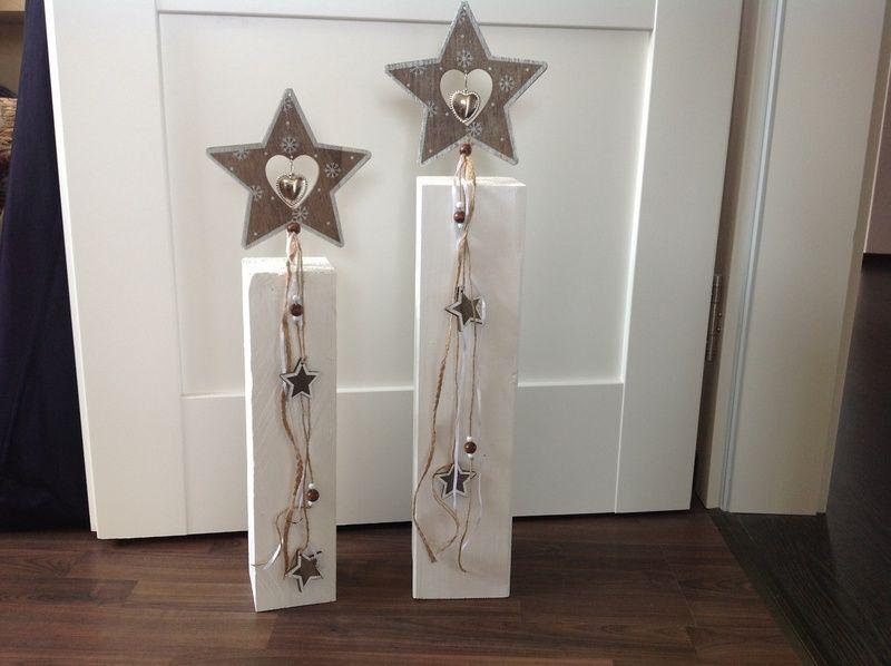 Holzpfosten Set Sterne Weihnachtsdeko Von FlotterFaden Auf