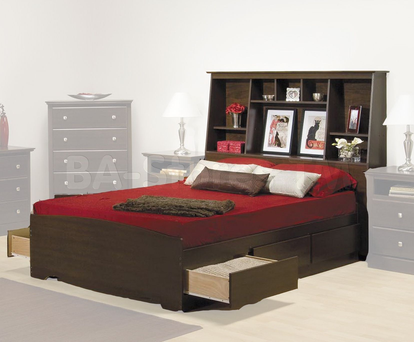 Prepac Fremont Platform Storage Bed with Bookcase Headboard in Espresso. Prepac Fremont Platform Storage Bed with Bookcase Headboard in