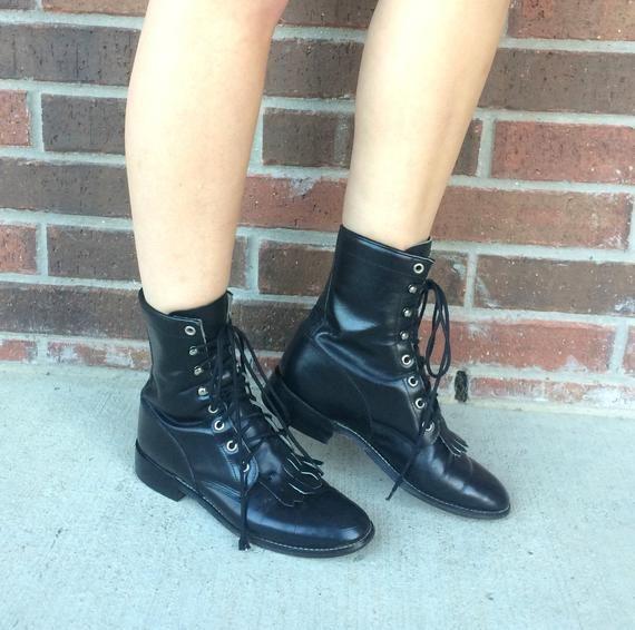 b0d2b19bc9cdc vintage 80s Black FRINGE leather ROPER BOOTS 6 womens grunge boots ...