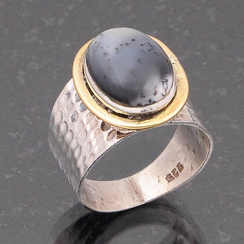 DENDRITE AGATE 925 SOLID STERLING SILVER RING JEWELLERY 6.15g DJR4697 #Handmade #Ring