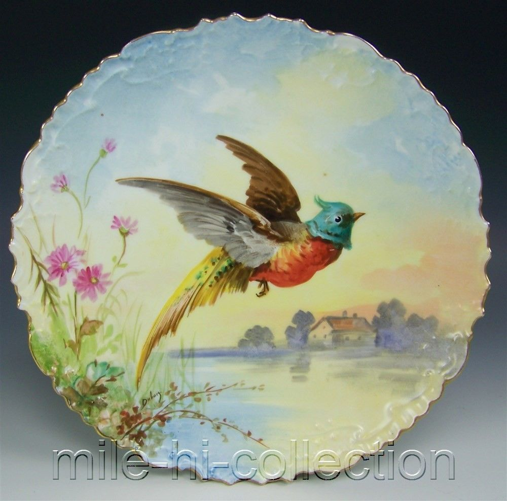 LIMOGES FRANCE HAND PAINTED BIRD FLYING OVER A LAKE PLATE WALL ...