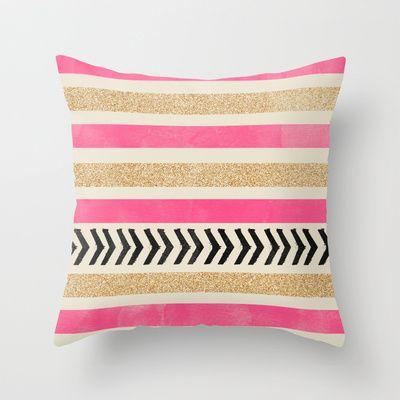 Pink And Gold Stripes And Arrows Throw Pillow By Allyson Johnson 20 00 Kissen Decken Dekokissen Und Kissen