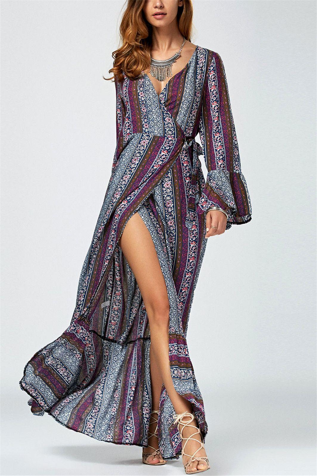 bell sleeve ornate printed high slit wrap dress purple