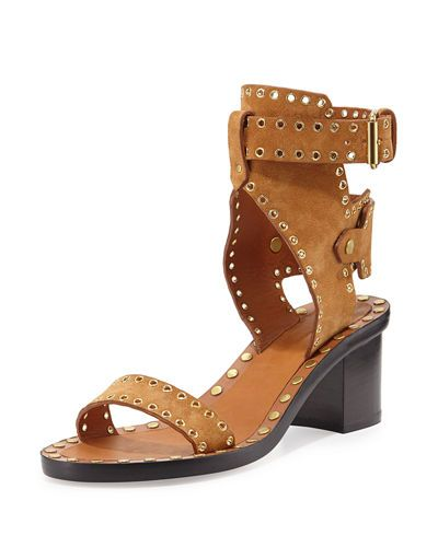 9bf00de6868 S0GXD Isabel Marant Jaeryn Grommet-Studded Suede Sandal