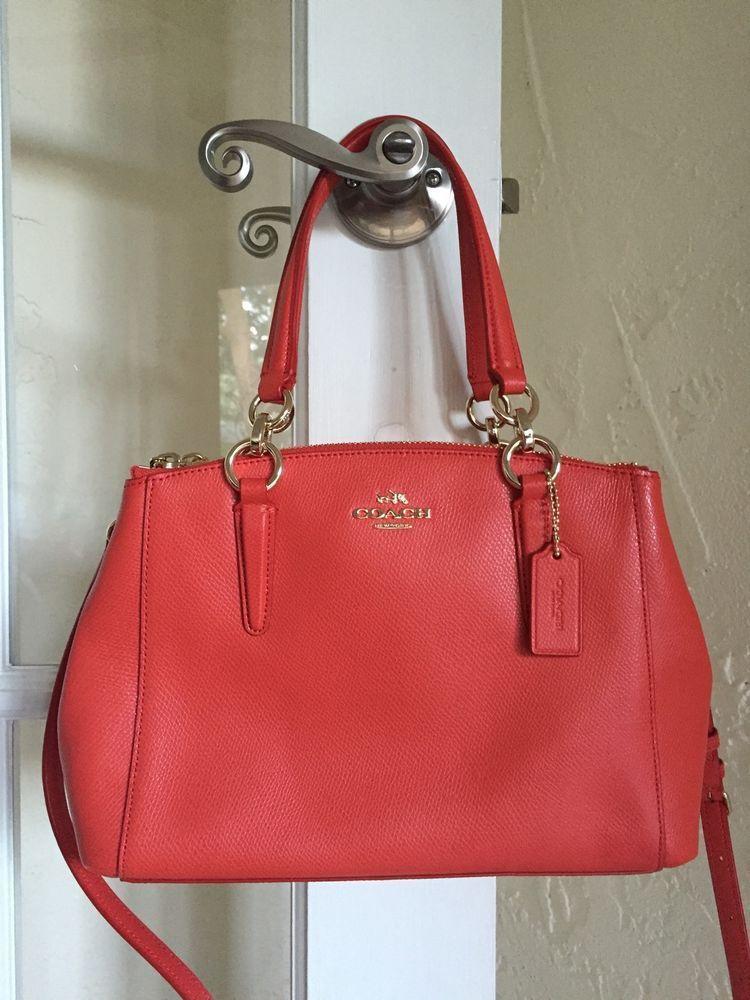 40e7b4427099 Coach F36704 Mini Christie Carryall Watermelon Orange Crossgrain Leather