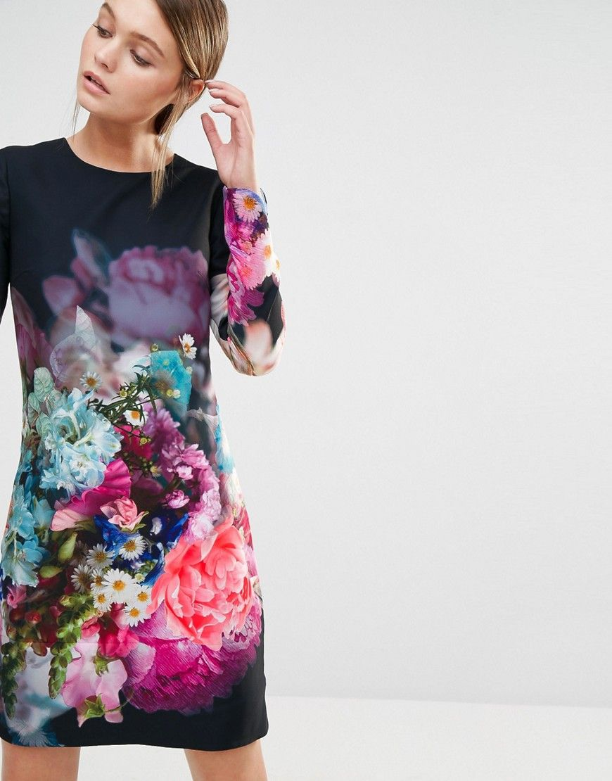 d4dd850bd8ee34 Image 1 of Ted Baker Vyr Tunic Dress in Focus Bouquet Print