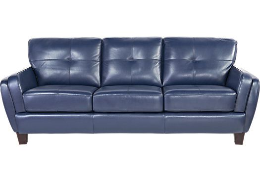 Shop For A Cindy Crawford Home San Sorrento Blue Leather Sofa At