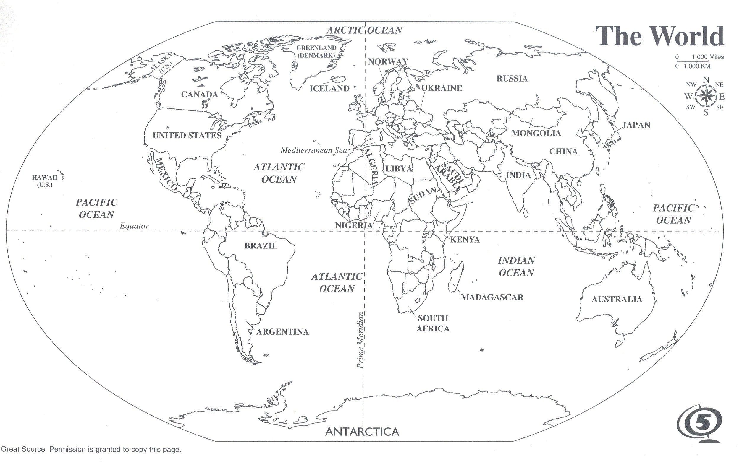 Black And White World Map With Continents Labeled Best Of