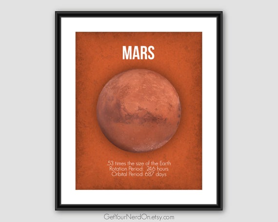 Mars Planet Poster Outer Space Wall Art Space Geek Gift Astronomy Posters Gifts For Teachers Red Planet Nerdy Office Decor Planet Prints Space Wall Art Planet Poster Space Art