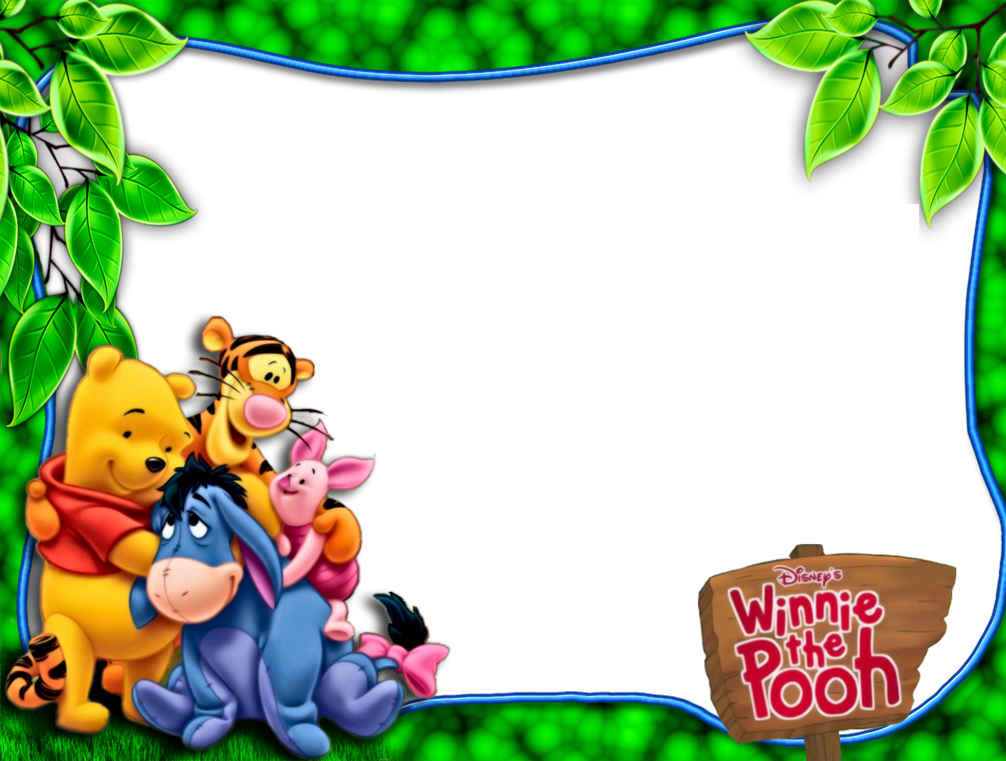 Transparent Kids Png Frame With Kanga Winnie The Pooh: Pooh And Friends PNG Green Kids Frame