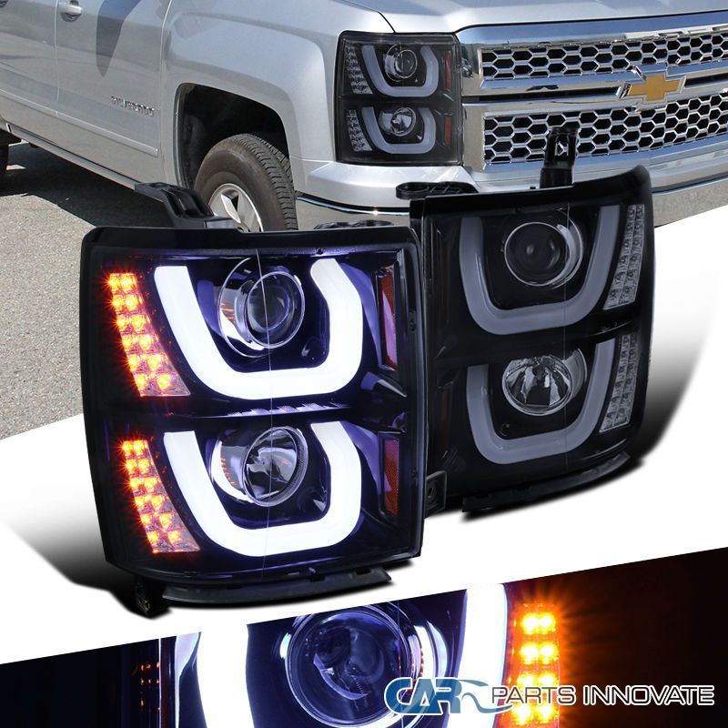 Details About For 14 15 Chevy Silverado 1500 Glossy Black Halo Projector Headlights Led Signal Chevy Silverado 1500 Silverado 1500 Projector Headlights