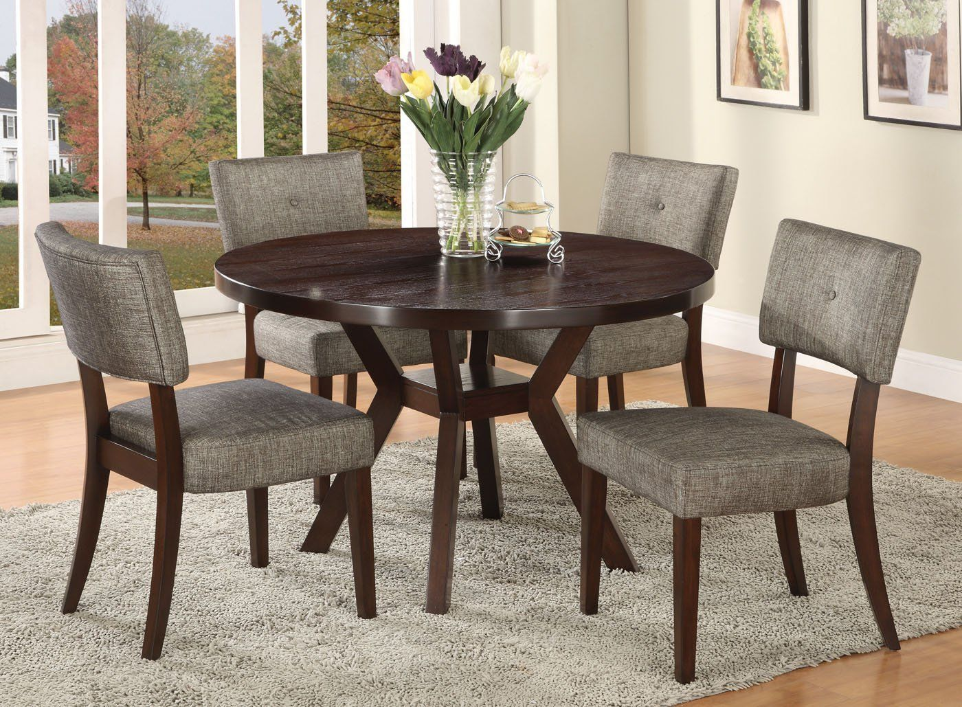 Amazon Com Acme 16250 Drake Espresso Round Dining Table 48 Inch Home Kitchen Round Dining Room Sets Round Dining Table Sets Dining Room Small