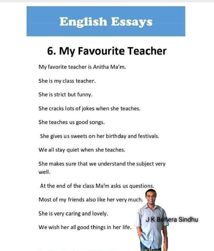 Pin By Sujata Sarkar On Sindhu My Favourite Teacher Class Teacher Essay