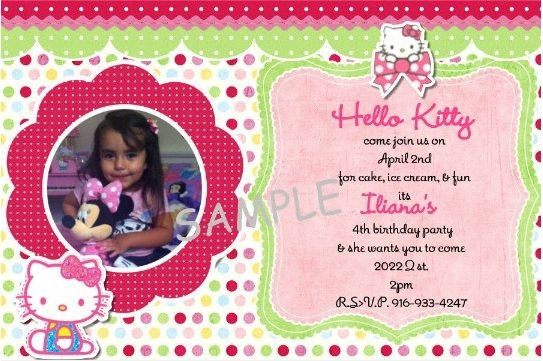 hello kitty invitation by adorableNcute on Etsy, $10.00