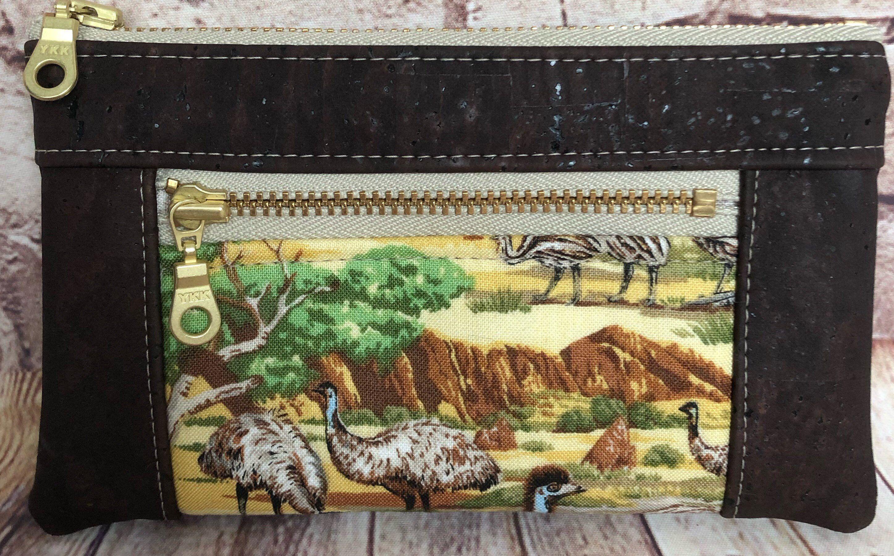Small cork coin purse Australian gift emu coin purse