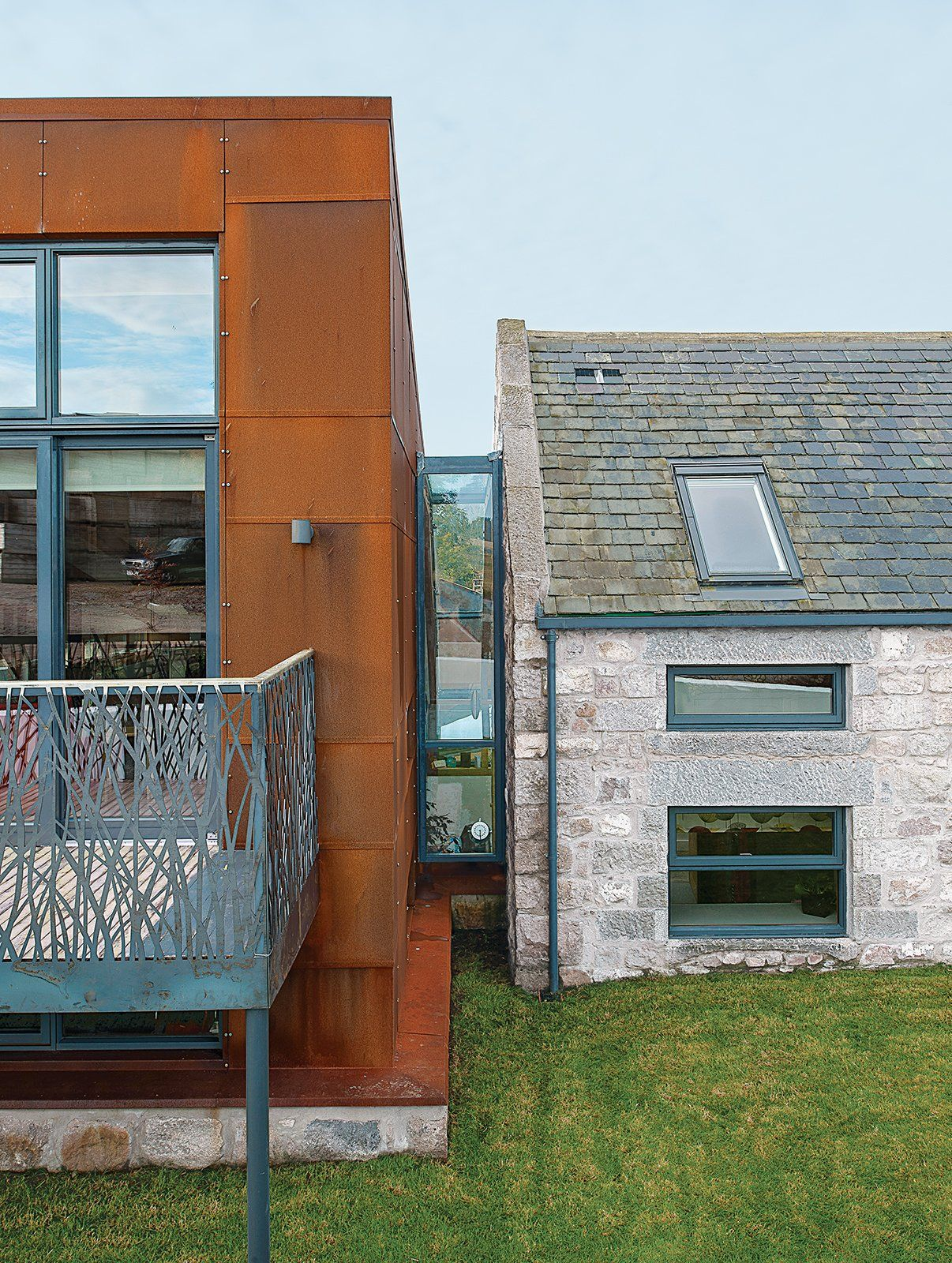 Ultramodern Addition To Traditional Home: Farmhouse Renovation, Corten Steel, Traditional House