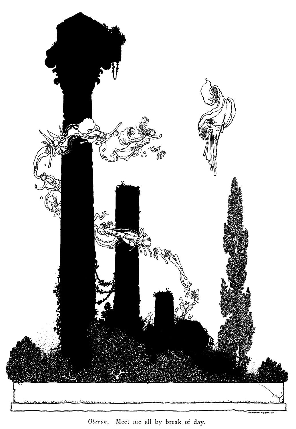 Shakespeare's comedy of a midsummer night's dream, with illustration by W. Heath Robinson. Published 1914 by Constable & Co