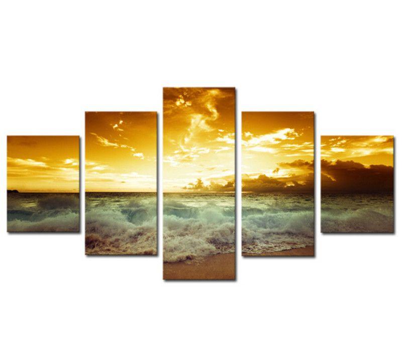 Cheap Frameless 5 pezzo il mare giallo e sole al tramonto modern ...