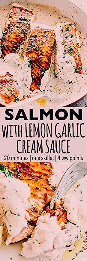 Parmesan Fish Recipes Pan Seared Salmon with Lemon Garlic Cream Sauce  Quick delicious bright and creamy salmon dinner prepared in just one skillet and served with an inc...