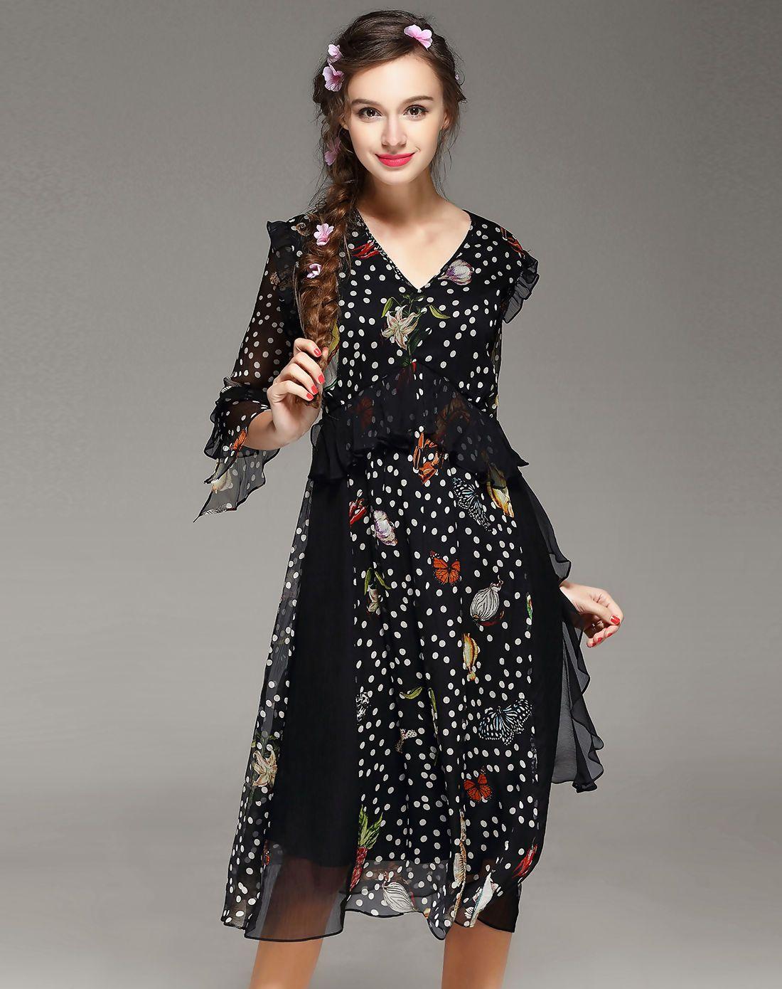 #AdoreWe #VIPme A-Line Dresses - wei guo yue Black Silk V Neck Printed Ruffled Midi Dress - AdoreWe.com