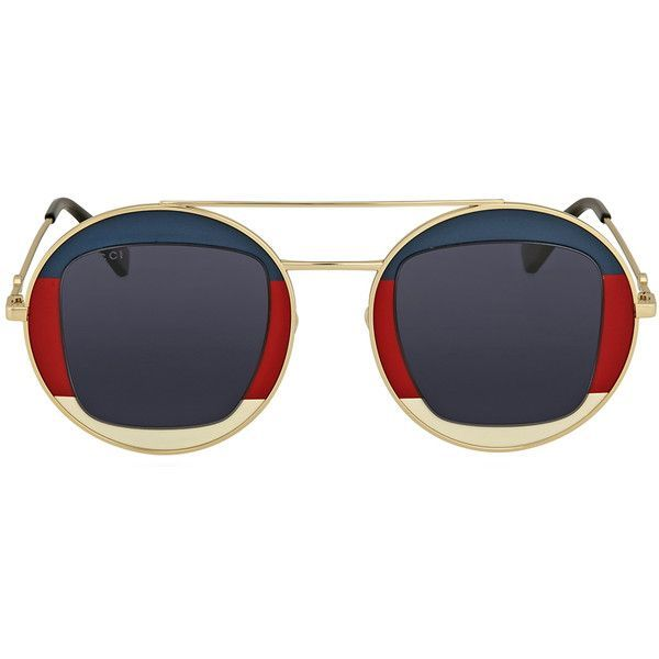 2bbc7d41fda48 Gucci Round Gold Sunglasses ( 249) ❤ liked on Polyvore featuring jewelry
