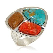 Jay King Turquoise and Coral Freeform Ring