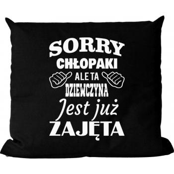 Poduszka Bawelniana Czarna Sorry Chlopaki Ale Ta Dziewczyna Jest Juz Zajeta Retail Logos North Face Logo Ale