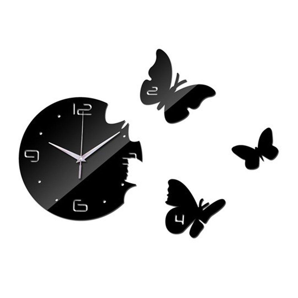 Creative Living Room Butterfly Wall Clock Acrylic Mirror black ...