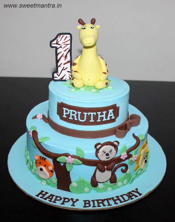 Animals Theme 2 Layer Customized Designer Fondant Cake For Girl S 1st Birthday At Pune Cake Home Delivery Cartoon Birthday Cake Cake