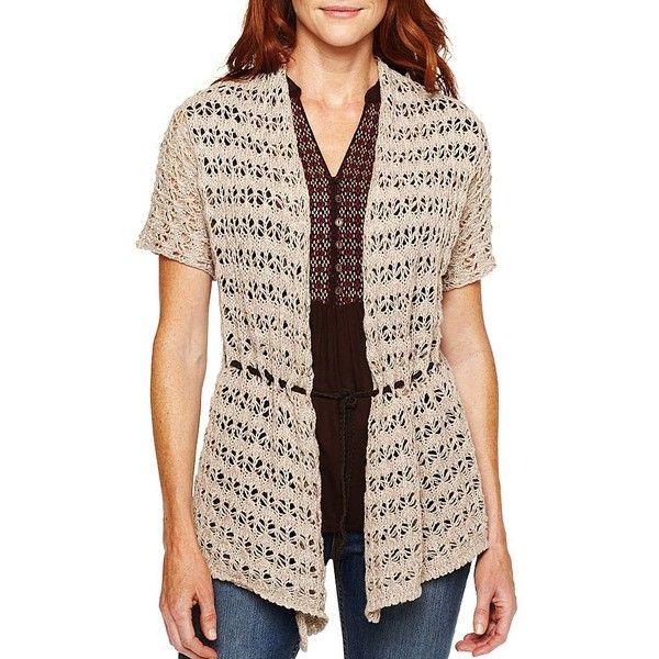 St. John's Bay Short-Sleeve Belted Cardigan ($10) ❤ liked on ...