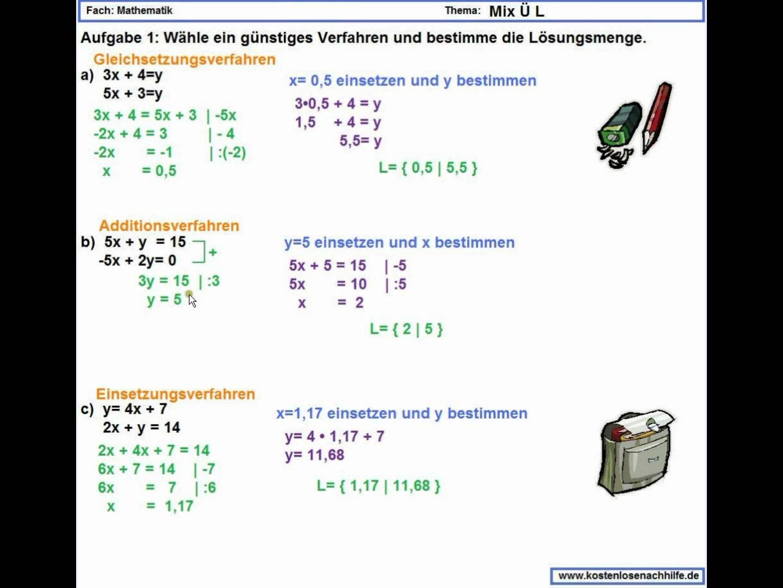 Lineare Gleichungssysteme - Mix Leicht