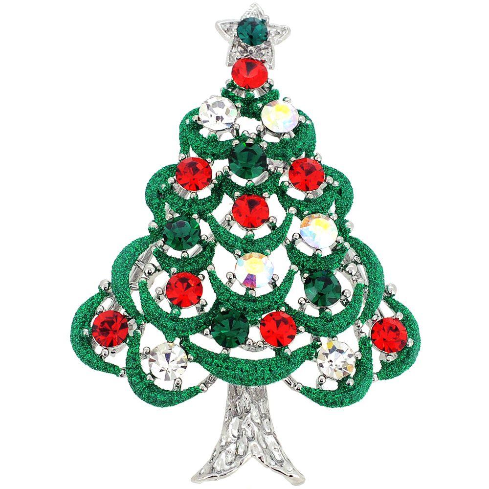 Multicolor Crystal Christmas Tree Swarovski Crystal Pin Brooche ...