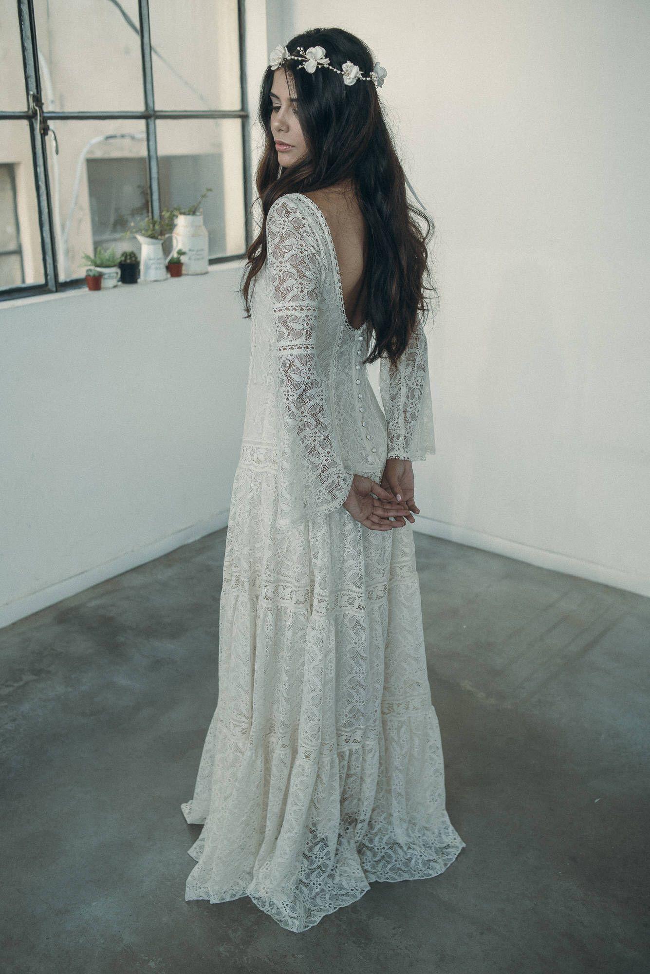 Wedding dress long sleeve lace wedding dress boho wedding dress