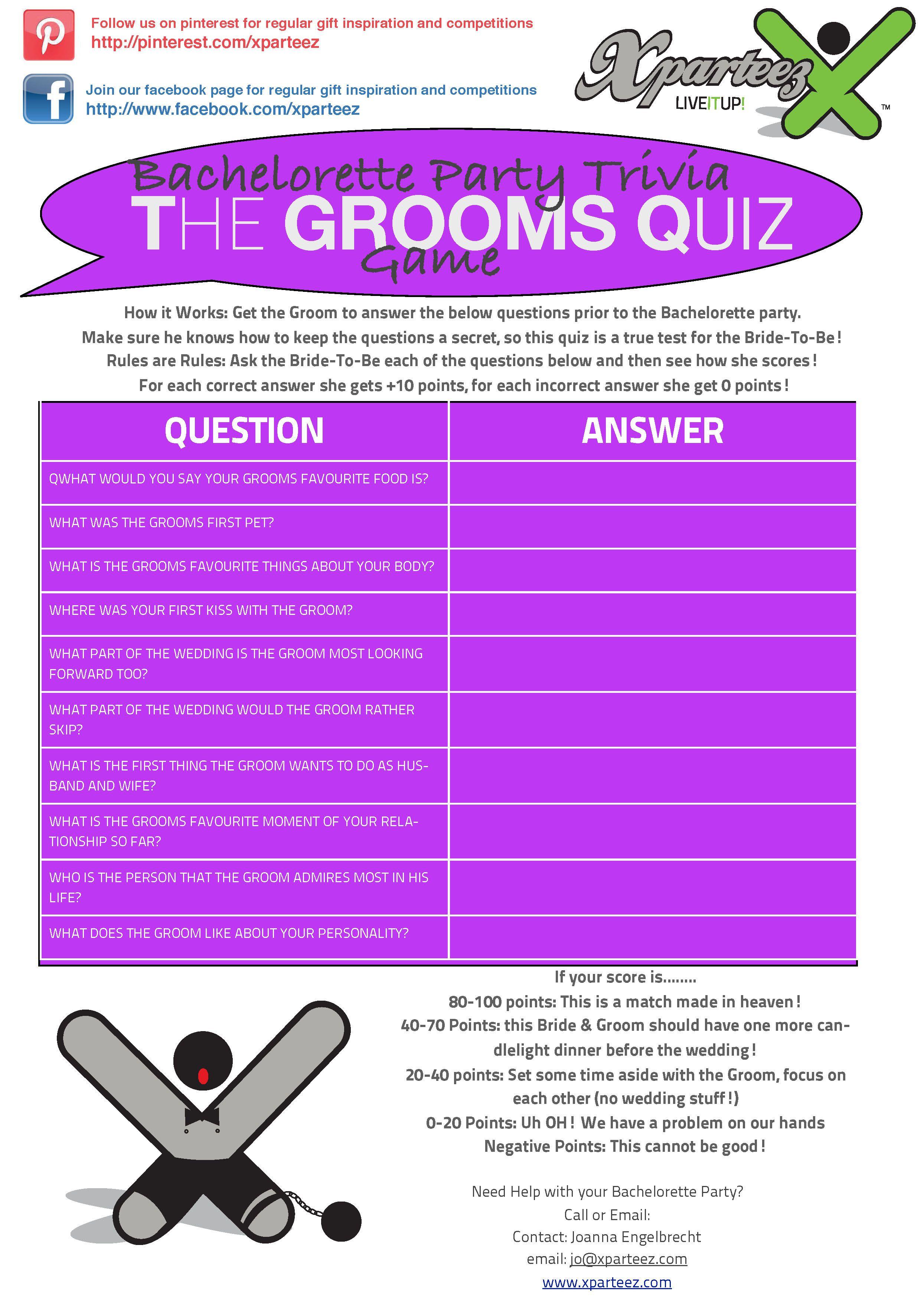 Bachelorette groom quiz
