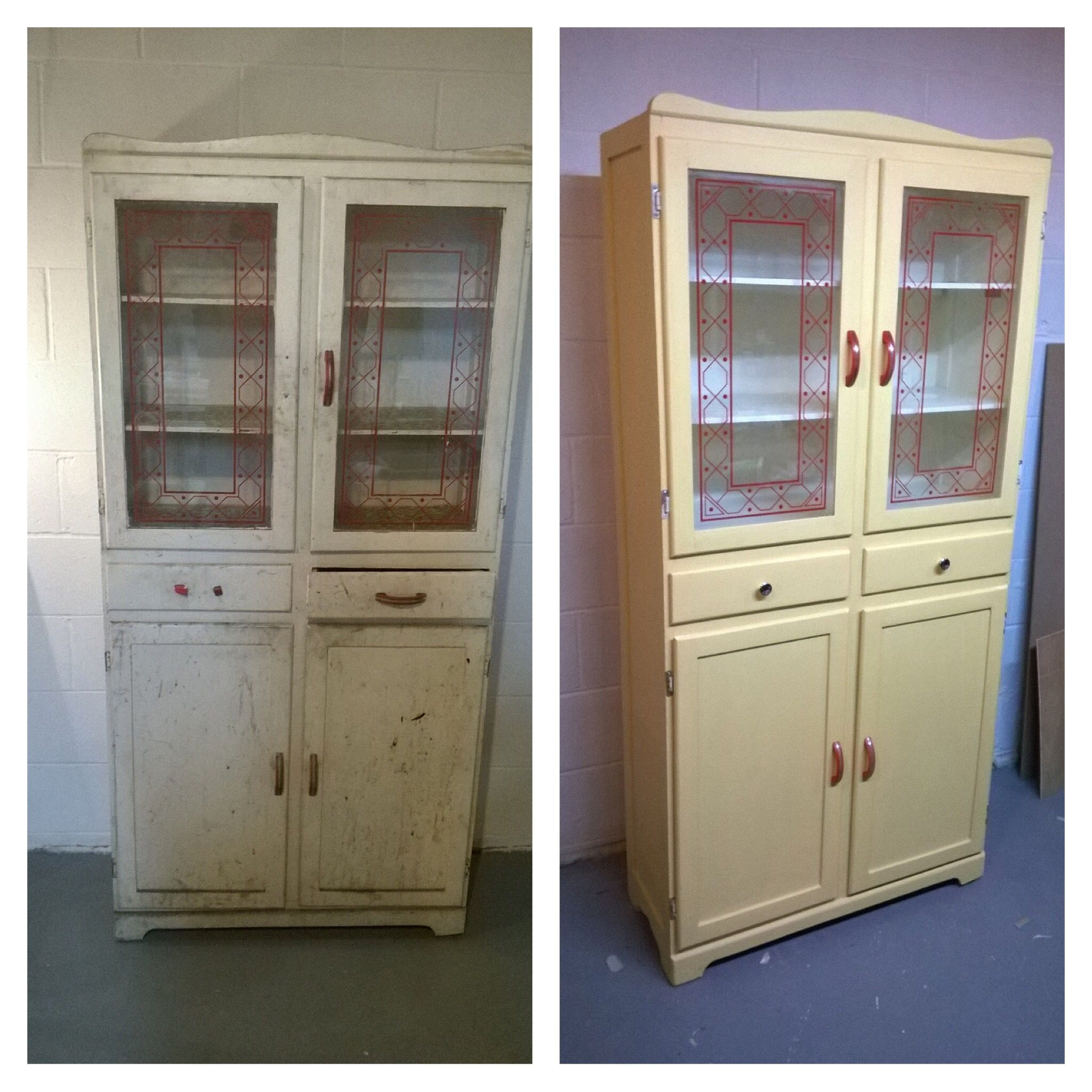 Kitchen cabinet from the 1940 s was a wreck but we loved the red