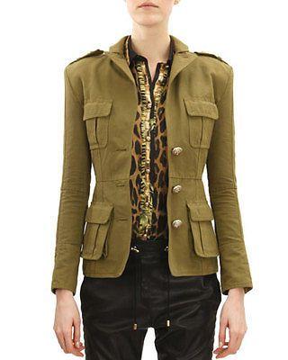 187e6a6b359d9 Balmain Three Button Four Pocket Military Jacket Khaki Green 40 NWOT $2878