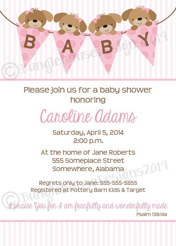 Puppy Baby Shower Invitation Pink