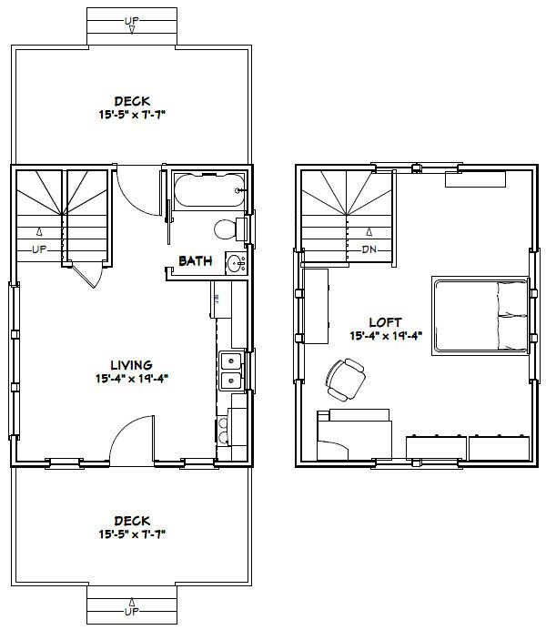 16x20 Tiny House 16x20h4c 574 Sq Ft Excellent